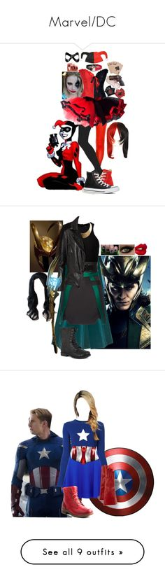 """Marvel/DC"" by monokumaa ❤ liked on Polyvore featuring Masquerade, Converse, T By Alexander Wang, Antonio Berardi, Style & Co., GUESS, MuuBaa, Pierre Dumas, Charlotte Tilbury and Proenza Schouler"
