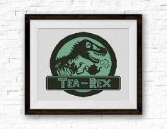 BOGO FREE Tea Rex Cross Stitch Pattern Dinosaur par StitchLine