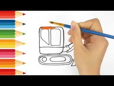 How to drawing and coloring Excavator step by step Kids Tv, Coloring For Kids, Drawings, Colors, Sketches, Colour, Drawing, Portrait, Coloring Sheets For Kids