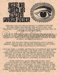 Eye Ritual To Improve Psychic Powers, Real Witchcraft Spell Book Of Shadows Witchcraft Spell Books, Wiccan Spell Book, Wiccan Witch, Magick Spells, Wicca Witchcraft, Witch Spells Real, Witch Rituals, Real Witches, Moon Spells