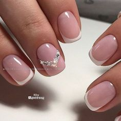 Your wedding day is almost here and now you're looking at accessories, makeup, and hair. Don't forget about your nails! French Nail Art, French Tip Nails, Short French Nails, Bride Nails, Nagel Gel, Perfect Nails, Manicure And Pedicure, Natural Nails, Toe Nails