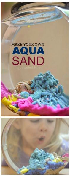 Christmas DIY: Amazingly fun ways t Amazingly fun ways to play with sand including recipes for aqua sand magic sand sand slime sand paint homemade colored sand and how to make a sand volcano. Science Projects, Projects For Kids, Diy For Kids, Craft Projects, Crafts For Kids, Sand Projects, Kids Fun, Summer Activities, Craft Activities