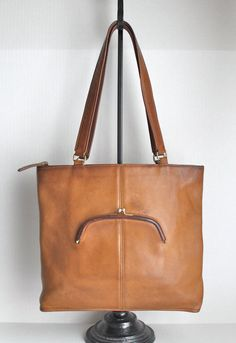 Awesome Vintage 196070s Leather Chain Link Tote