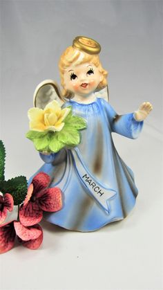 """ANGEL SCHMID MUSIC  Box Lefton Vintage March Angel holding Yellow Flower with Blue March Sash. The Music Box play """"Happy Birthday"""" clearly ! by VintageQualityFinds on Etsy"""