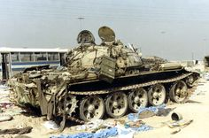 Iraqi T-55 tank had abandoned by its crews, Operation Desert Storm.