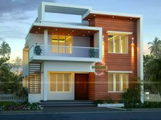 this small modern double storey home has total area of 1900 square feet square meter square yards with 4 bedrooms in beautiful modern look - Front Home Designs