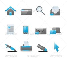 Glossy icon set — JPG Image #phone #art • Available here → https://graphicriver.net/item/glossy-icon-set-/85108?ref=pxcr