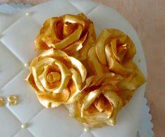 Jubileum taart 'gouden rozen' - detail