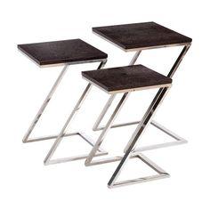 Empire Art Black-on- Metallic Shagreen Leather Nesting Z Base Tables