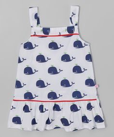 Look at this #zulilyfind! White & Navy Whale Drop-Waist Dress - Infant, Toddler & Girls by Sophie & Sam #zulilyfinds