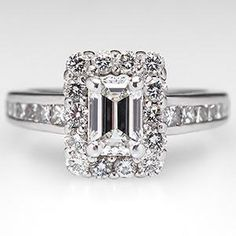 Jewelry Diamond : Emerald Cut Diamond Engagement Ring w/ Halo Platinum - I'm not usually a fan. - Buy Me Diamond Green Engagement Rings, Emerald Cut Diamond Engagement Ring, Emerald Cut Diamonds, Antique Engagement Rings, Diamond Cuts, White Diamonds, Halo Engagement, Antique Diamond Rings, Diamond Jewelry