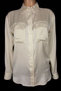 EQUIPMENT FEMME Blouse Size XS Extra Small Ivory 100% Silk Work Top #EQUIPMENTFemme #Blouse #Career