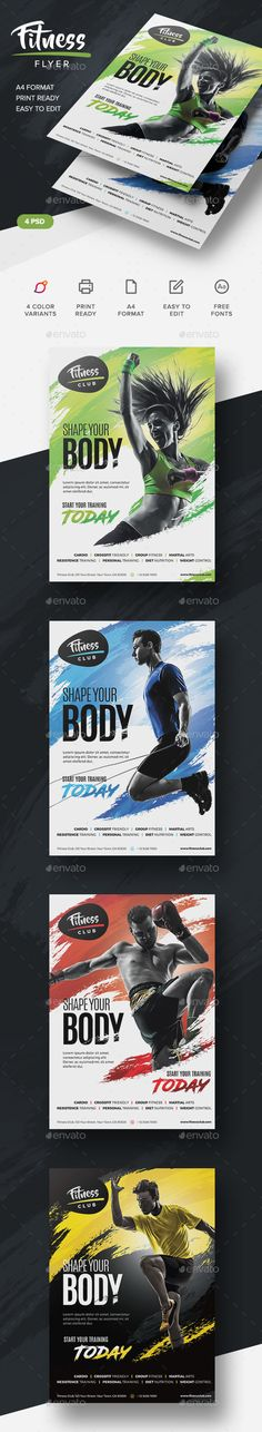 Buy Fitness Flyer by artmotion on GraphicRiver. Print Templates: This template is perfect for a fitness center, personal training that needs a modern corporate style. Flyer Poster, Flyer And Poster Design, Flyer Design, Corporate Style, Corporate Flyer, Banners, Fitness Flyer, Magazin Design, Christmas Flyer