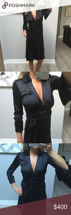DVF limited black silk wrap dress 2 Super sexy dress. Worn a couple of time. Great condition Diane von Furstenberg Dresses Midi