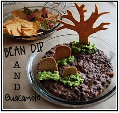 Black bean dip with guacamole for the grass. The guacamole helped hold up the tree and grave stones. Cut out shapes from tortillas, brush with oil, cook until golden brown. Halloween Dip, Halloween Food For Party, Halloween Ideas, Halloween Stuff, Halloween Office, Halloween Dinner, Halloween Drinks, Halloween Goodies, Halloween 2016