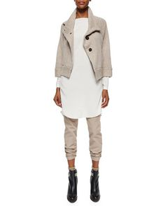 Cashmere Peacoat Jacket, Long-Sleeve Silk Monili-Detail Tunic & Garment-Dyed Five-Pocket Jeans by Brunello Cucinelli at Neiman Marcus.