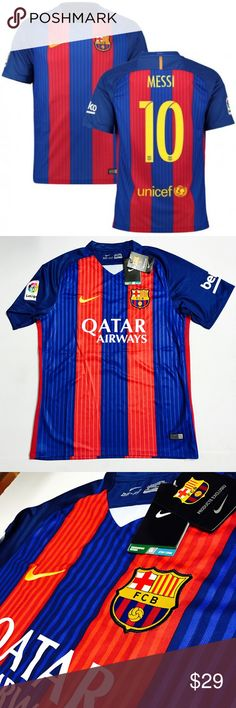 New Home Jersey FC Barcelona Messi 2016/2017 (M) This is brand new short sleeve Barcelona home jersey  Of Messi for 2016/2017 season.  ** Best Jerseys Guaranteed !!  -item comes in nike bag - Size: Medium ( for adult ) - Shipping: Same day shipping - please buy with confidence  - please contact us if you have any question - more than 5 available  thank you Nike Shirts Tees - Short Sleeve