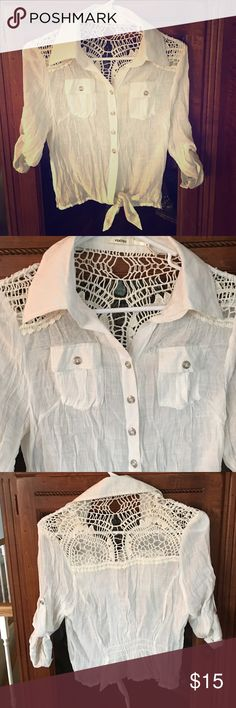 White blouse with back lace design White blouse with back lace design, perfect condition with 3/4 sleeves Tops Blouses