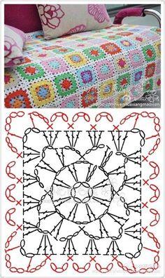 Crochet blanket patterns 185562447134116006 - New crochet granny square pattern mini Ideas Source by beadyjean Crochet Motifs, Crochet Quilt, Granny Square Crochet Pattern, Crochet Blocks, Crochet Diagram, Crochet Stitches Patterns, Crochet Chart, Crochet Granny, Joining Crochet Squares