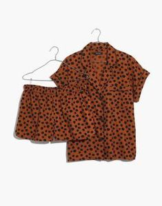 Madewell Flannel Bedtime Pajama Set in Leopard Dot 055bb2413