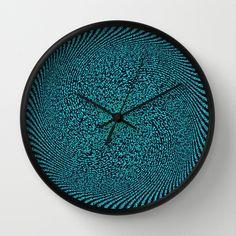 Black and Blue Wall Clock by Elena Indolfi #society6