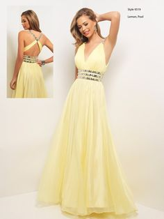 Lovely flowing lemon prom dress by Blush Prom.