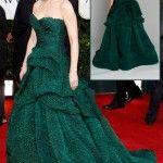 Catherine Zeta Jones Green Monique Lhuillier dress Golden Globes 2011