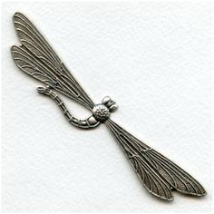 Giant Dragonfly Stampings Oxidized Silver 115mm (1) vintagejewelrysupplies.com