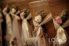 Pew decor ~  #wedding #aisle #pew decor ideas - spotted by www.huntshamcourt.co.uk