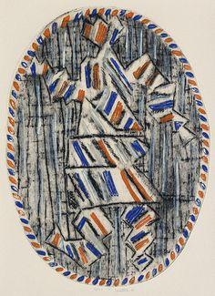 Bernard Louttre (1926-2012) Composition ovale Colour woodcut engraving - 15/40 - 1970 Size: 65 x 50 cm Bernard Louttre (1926-2012) Ovális kompozició.  Szinezett famatszet - 15/40 - 1970 65 x 50 cm