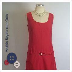 Vestido Regata com Cinto (Vermelho) - Café Costura de R$120 por R$100