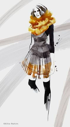 Harare, a new womenswear label founded by Caroline Fuss. The Fall 2014 collection was a mixture of feminine glamor and street style edge. Bold pattern and texture paired with soft flowing silk. Illustration by Ellie Rahim Illustration and Design