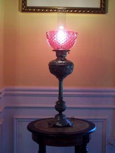 Antique kerosine lamp converted