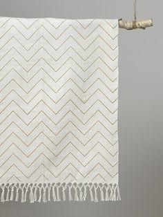 Teppich, grafisches Muster, Baumwolle - Ocker/Fischgrat - 1