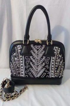 Stella Young Black Rhinestone Satchel/Crossbody Elegant Bag