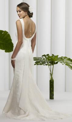 Birnbaum & Bullock 1114 wedding dress has a cool cowl back and pretty illusion neckline.