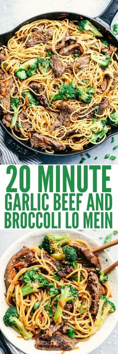 20 Minute Garlic Beef and Broccoli Lo Mein has melt in your mouth tender beef with broccoli, carrots, and noodles.  The sauce adds such amazing flavor to this incredibly easy meal!