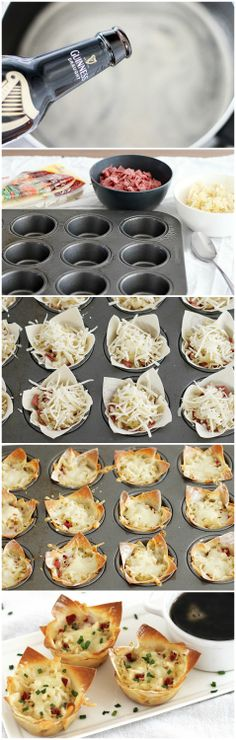 Reuben Cupcakes w/ Guinness Dipping Sauce Appetizers For Party, Appetizer Recipes, Irish Appetizers, Kreative Snacks, Irish Dinner, Irish Recipes, Guinness, Holiday Recipes, Food To Make