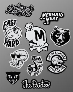 Stick em' up! 10 stickers for only is a steal. Get your mits on these original Dudes and Mcbess stickers quick because at this price they won't stick. Mc Bess, Schrift Tattoos, Retro Tattoos, Inspiration Design, Start Ups, Emblem, Typography Logo, Graffiti Art, Doodle Art