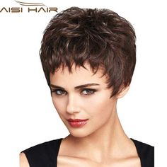 "6"" Short Brown Hair Wig For Black Women Short Female Haircut Pixie Cut Cheap Synthetic Hair Wig African American Wig"