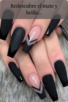 The Most Beautiful Black Winter Nails Ideas - Here are some cute winter nail designs between black and silver glitter nails, black and gold glitter nails, and black marble nails designs. Acrylic Nail Designs Coffin, Black Acrylic Nails, Gold Glitter Nails, Square Acrylic Nails, Black Nail Designs, Summer Acrylic Nails, Best Acrylic Nails, Black Coffin Nails, Summer Nails