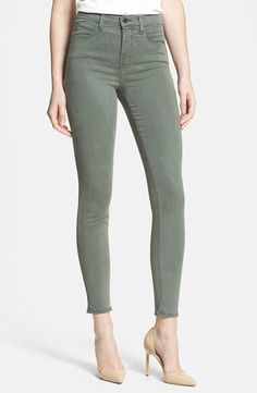 $189 J BRAND JEANS 23110 MARIA SPRUCESTONE GREEN LUXE SATEEN HIGH RISE SKINNY 24 #JBrand #SlimSkinny