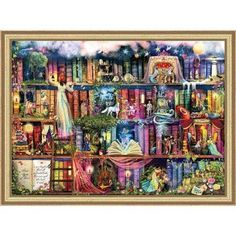 Heaven and Earth Designs Treasure Hunt Bookshelf Chart & Fabric Counted Cross-Stitch