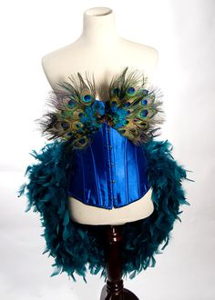 X-LARGE Burlesque Peacock Feather Corset Costume Fantasy Fairy Royal Blue Bird Teal Sexy Adult Women's Plus Size. $185.00, via Etsy.