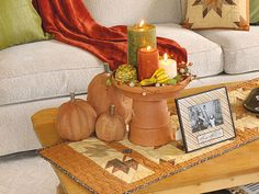 Honor the autumn-appropriate color of terra cotta: Top an overturned pot with a saucer to build a pedestal. Find more great decorating secrets in every issue of Country Sampler. Order your subscription here: https://ssl.drgnetwork.com/ecom/csl/app/live/subscriptions?org=csl&publ=CS&key_code=EYJCS02&source=pinterest