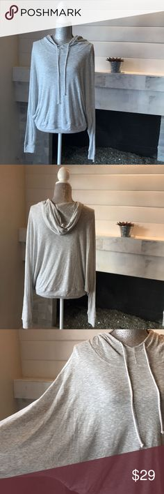 """Oversized Hooded Pullover Sweater w/Hood Soft & light weight with Ragland sleeves.  Very comfy!  Barely worn!  Measurements laid flat:  24.5"""" long in the front.  22.5"""" long in the back.  No defined underarms!  A medium can easily wear this! Emma & Sam Sweaters"""