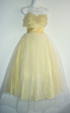 1950s prom dress buttercup yellow and white by sugarshackvintage, $165.00