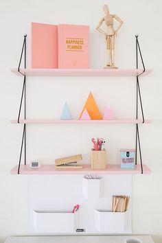 pink shelves