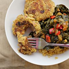 black-eyed pea cakes with collard greens
