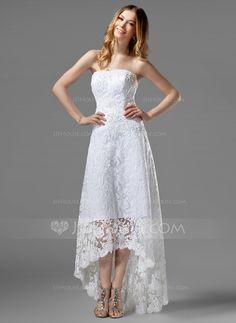 [US$ 173.99] A-Linie/Princess-Linie Trägerlos Asymmetrisch Spitze Brautkleid mit Perlen verziert